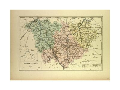 Map of Haute-Loire, France--Giclee Print