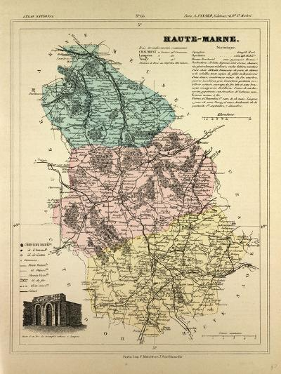 Map of Haute-Marne, France--Giclee Print