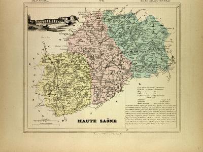 Map of Haute Saône, France--Giclee Print