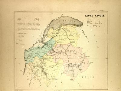 Map of Haute Savoie, France--Giclee Print