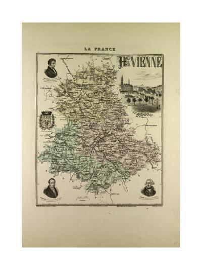 Map of Haute Vienne 1896 France--Giclee Print