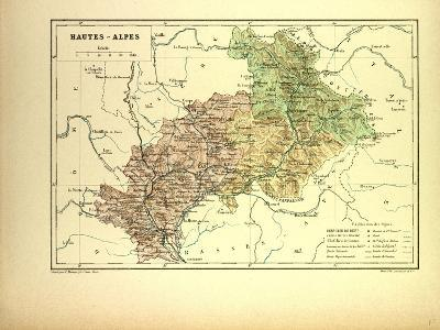 Map of Hautes-Alpes, France--Giclee Print