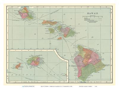 picture regarding Printable Map of Hawaiian Islands named Map of Hawaii - Hawaiian Islands Artwork Print by means of C.S. Hammond