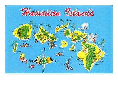 image about Printable Maps of Hawaii identified as Map of Hawaii Artwork Print through