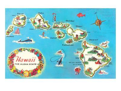Map of Hawaii--Art Print
