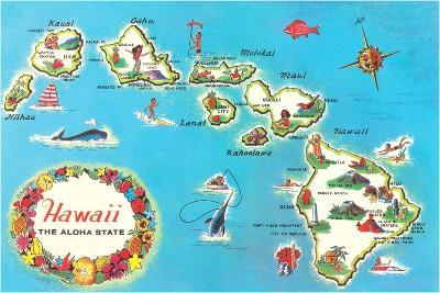 Map of Hawaii--Stretched Canvas Print
