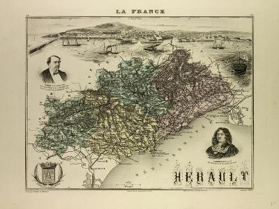 Map of Hérault 1896, France--Giclee Print