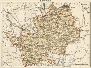 Map of Hertfordshire, England, 1870s
