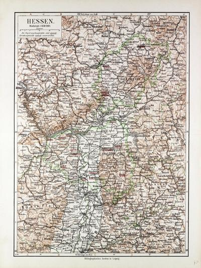 Map of Hessen Germany 1899--Giclee Print