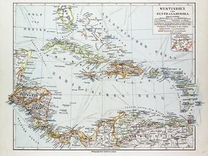Map of Honduras Nicaragua Costa Rica the Northern Part of Columbia Venezuela Cuba 1899