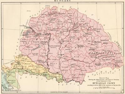 Map of Hungary, 1870s