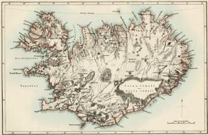 Map of Iceland, 1870s