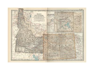 Map of Idaho and Wyoming. United States. Inset Map of Yellowstone National Park-Encyclopaedia Britannica-Giclee Print