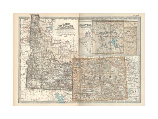 Yellowstone Us Map.Map Of Idaho And Wyoming United States Inset Map Of Yellowstone