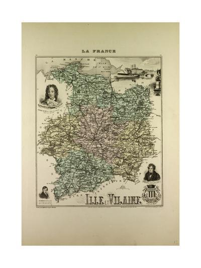 Map of Ille and Vilaine 1896, France--Giclee Print
