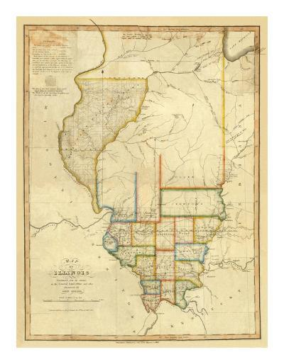 Map of Illinois, c.1820-John Melish-Art Print