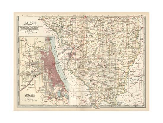 Map of Illinois, Southern Part. United States. Inset Map of Chicago Inset Map Of United States on light map of united states, insect map of united states, lake map of united states, framed map of united states, train map of united states, flat map of united states, raised map of united states, scale map of united states, insert map of united states, resources map of united states, solid map of united states,