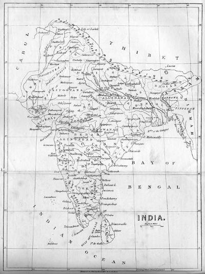 Map of India, 1847--Giclee Print