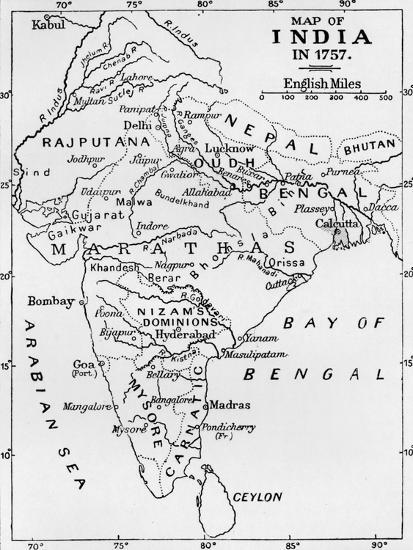 'Map of India in 1757', (c1912)-Unknown-Giclee Print