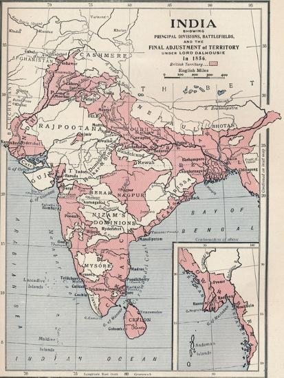 Map of India in 1856 (1906)-Unknown-Giclee Print
