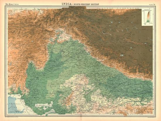 Map of India - North Western Section-Unknown-Giclee Print