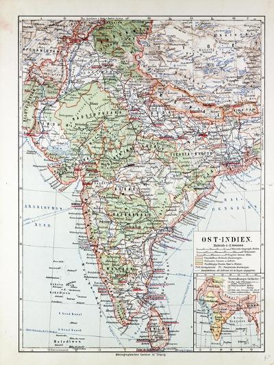 Map of India Pakistan and Tibet 1899--Giclee Print