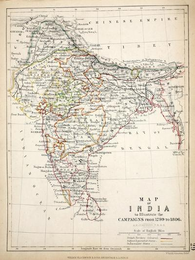 Map of India, Published by William Blackwood and Sons, Edinburgh and London, 1848-Alexander Keith Johnston-Giclee Print