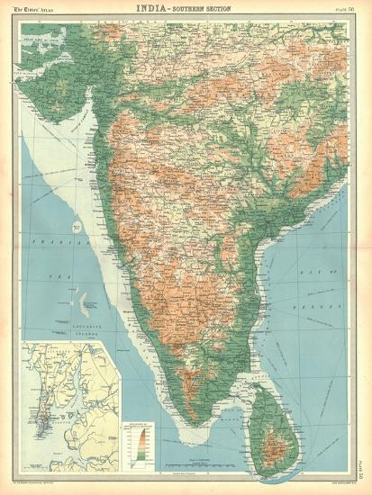 Map of India - Southern Section-Unknown-Giclee Print