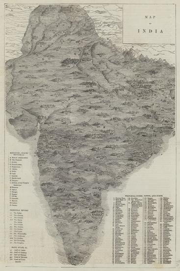 Map of India--Giclee Print