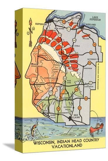Map of Indian Head Country, Wisconsin--Stretched Canvas Print