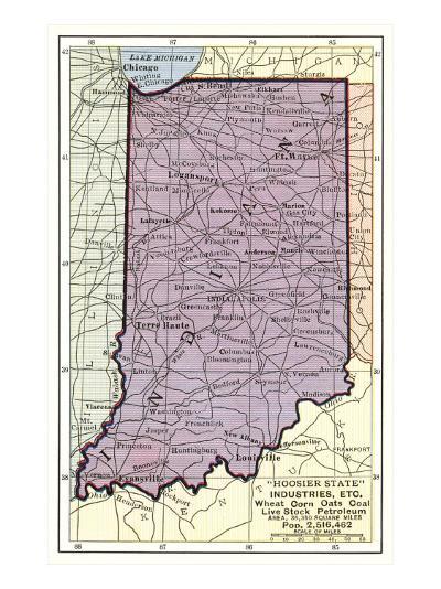 Map of Indiana--Art Print