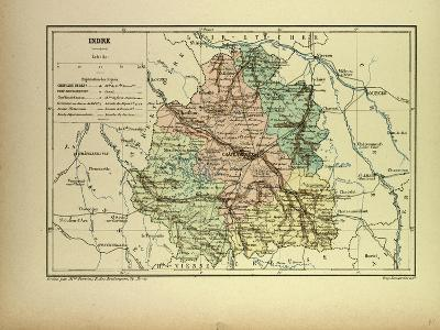 Map of Indre France--Giclee Print