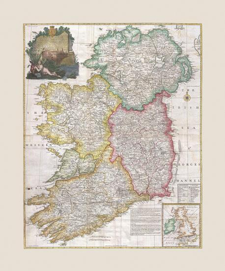 Print Map Of Ireland.Map Of Ireland 1794 Premium Giclee Print By John Rocque Art Com