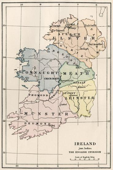 Print Map Of Ireland.Map Of Ireland Before The English Invasion Circa 1580 Giclee Print By Art Com