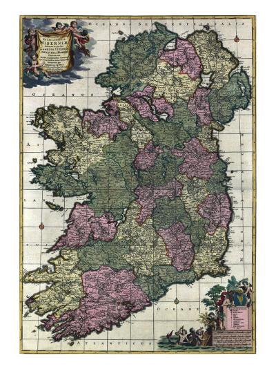 Map of Ireland from 18th Century, Showing Counties, When All of Ireland Was under British Rule--Photo