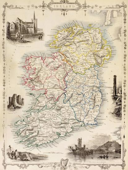 Print Map Of Ireland.Map Of Ireland From The History Of Ireland By Thomas Wright Published C 1854 Giclee Print By Art Com