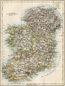 Map of Ireland, or Eire, 1870s