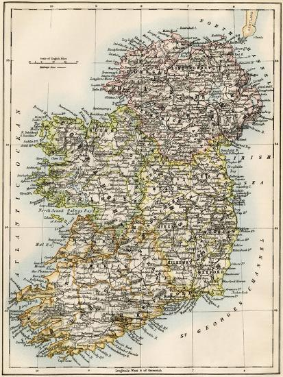 Print Map Of Ireland.Map Of Ireland Or Eire 1870s Giclee Print By Art Com