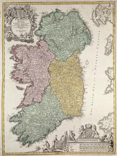 Map of Ireland, Provinces of Ulster, Munster, Connaught and Leinster, by Johann B. Homann, c.1730-Johann Baptista Homann-Giclee Print