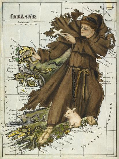 Map Of Ireland For Driving.Map Of Ireland Representing St Patrick Driving Out The Snakes Giclee Print By Lilian Lancaster Art Com