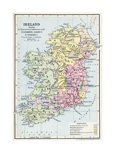 Map of Ireland Showing the Plantations and Settlements under Elizabeth--Giclee Print