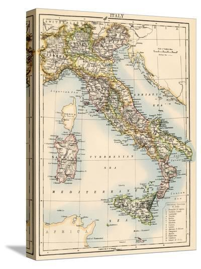 Map of Italy, 1870s--Stretched Canvas Print
