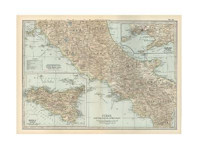 Map of Italy. Central and Southern Part. Insets of Sicily (Sicilia) and Naples (Napoli)-Encyclopaedia Britannica-Giclee Print