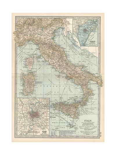 Map of Italy. Insets of Rome (Roma) and Vicinity, and Venice (Venezia) and Vicinity-Encyclopaedia Britannica-Giclee Print