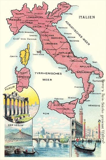 Map of Italy--Art Print