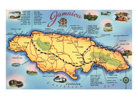 Map Of Jamaica Art Print Art Com
