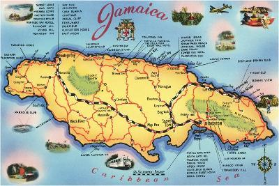 Map of Jamaica--Stretched Canvas Print