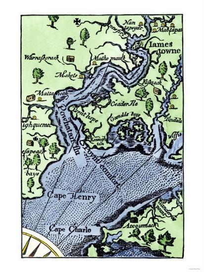 Map of Jamestown Settlement, Virginia Giclee Print by | Art.com