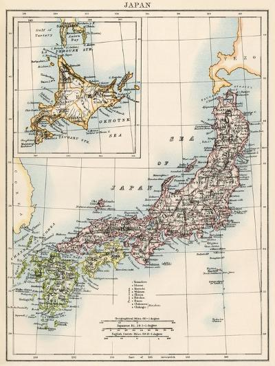 Map of Japan, 1870s--Giclee Print