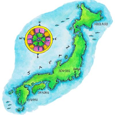 Map of Japan-Jennifer Thermes-Photographic Print